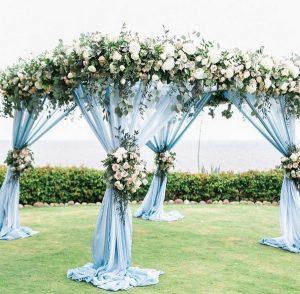 blue wedding alter decoration ideas