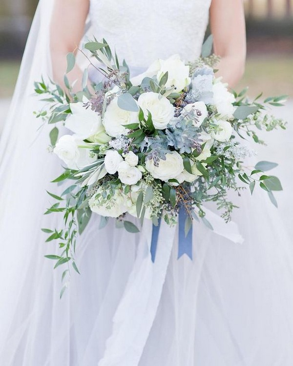 blue white and green wedding bouquet