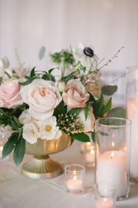 blush pink and gold wedding centerpiece ideas with candles