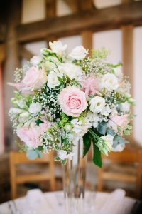 blush pink and green wedding centerpiece ideas
