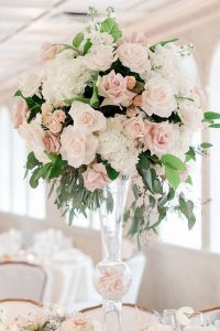blush pink and greenery tall wedding centerpiece ideas