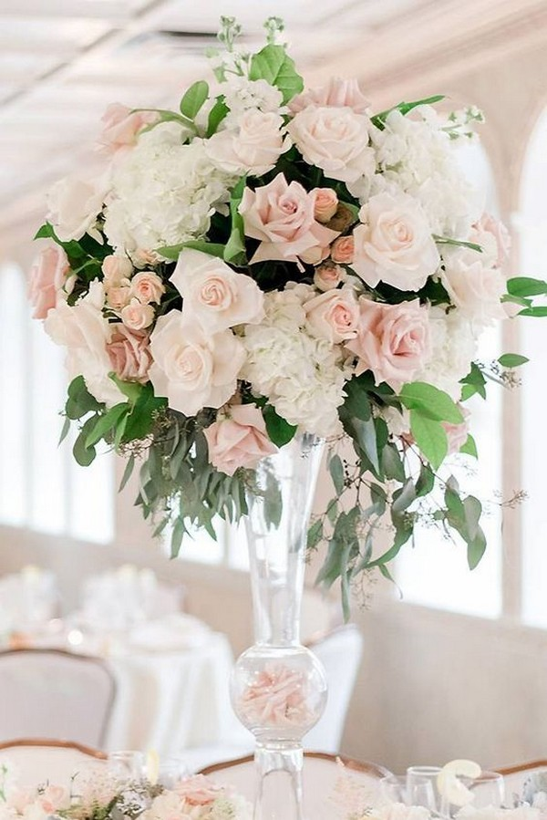 blush pink and greenery tall wedding centerpiece ideas