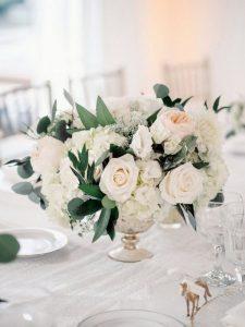 blush pink and ivory elegant wedding centerpiece