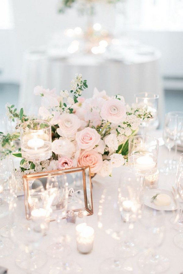 blush pink elegant wedding centerpiece