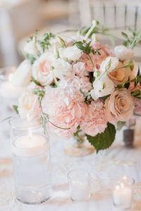 blush pink hydrangea and roses wedding centerpiece