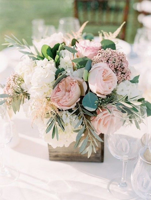 chic elegant blush pink wedding centerpiece