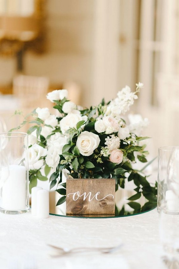 chic elegant wood wedding table number and centerpiece