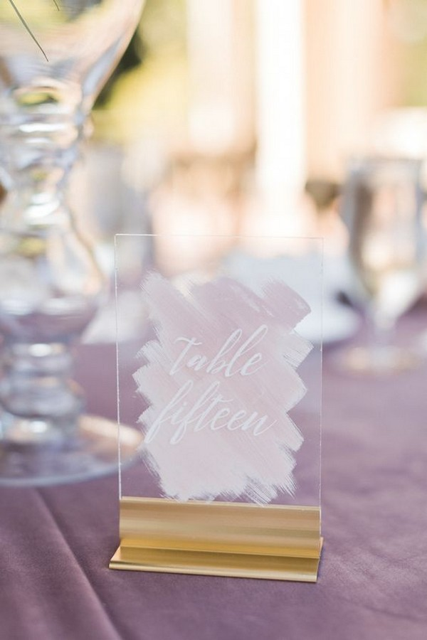 chic glass pink watercolor wedding table number