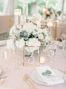 chic glass wedding table number ideas with gold frame