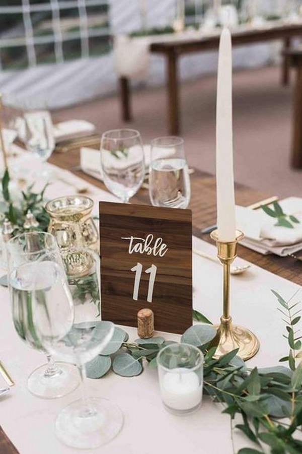 chic rustic wooden wedding table number ideas
