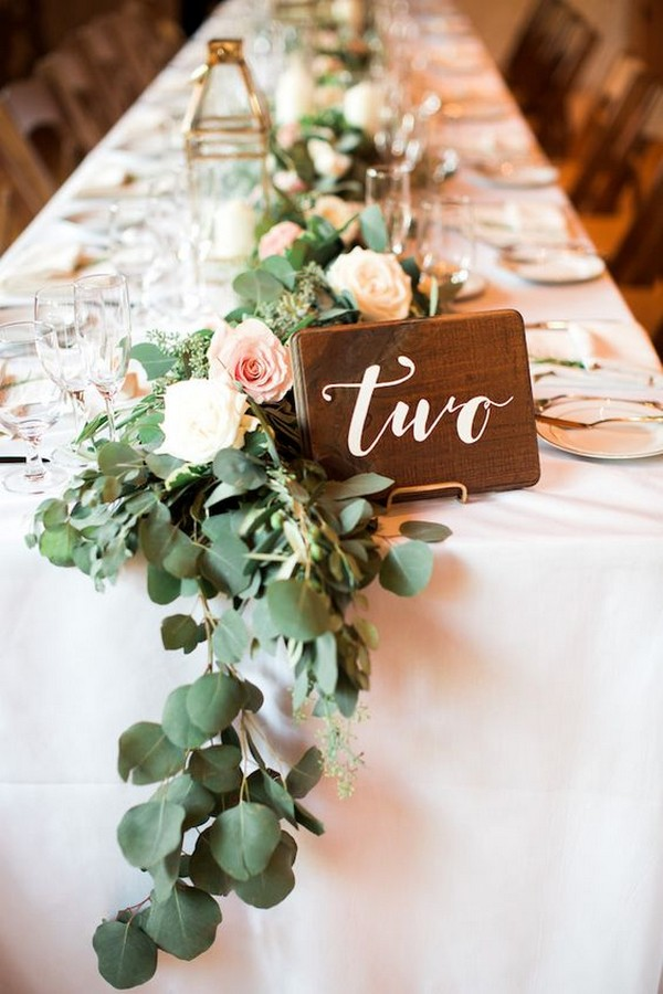 chic wood wedding table number ideas for long table