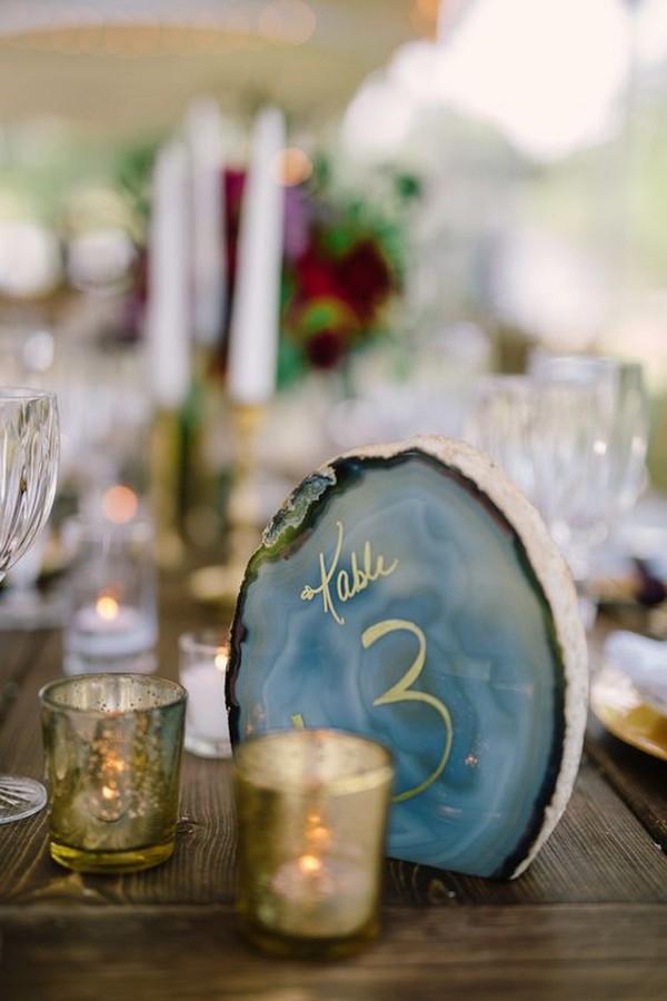 creative geode wedding table number ideas