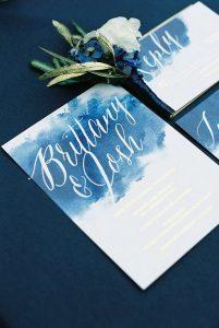 deep blue watercolor wedding invitations
