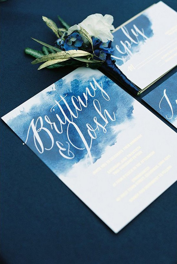 deep blue watercolor wedding invitations