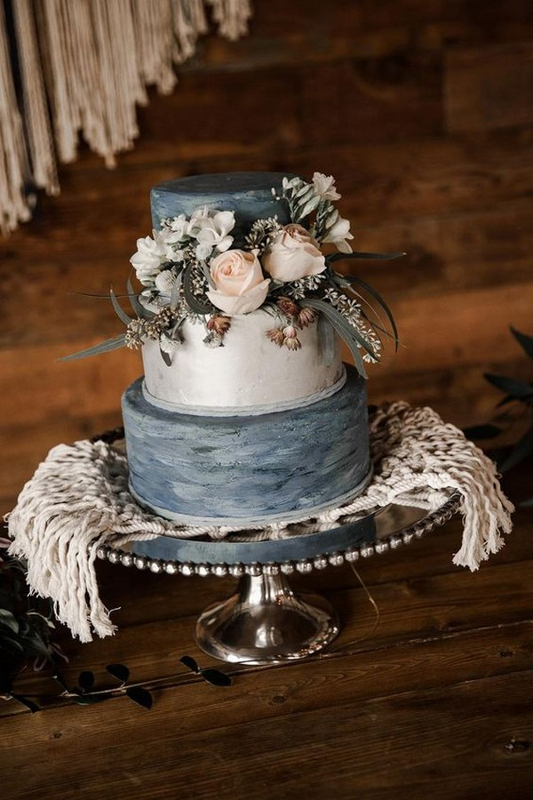 dusty blue and blush vintage wedding cake