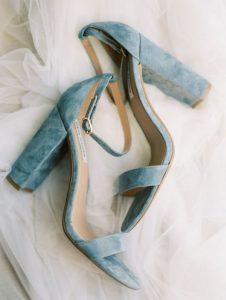 dusty blue velvet wedding heels