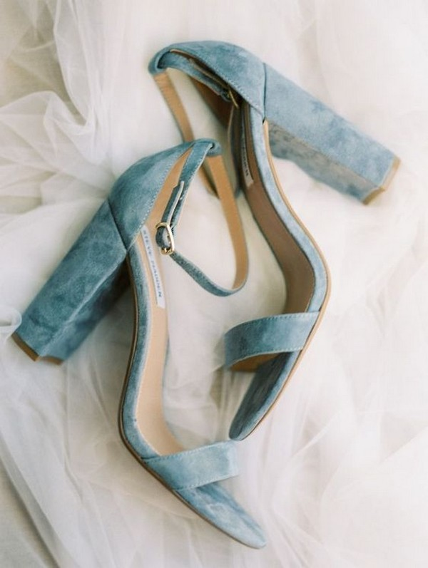 dusty blue velvet wedding heels
