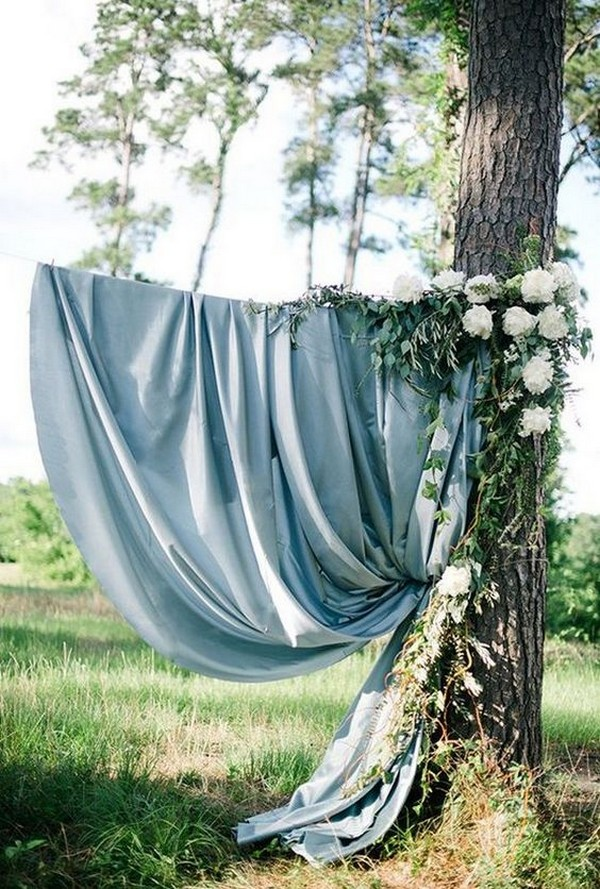 dusty blue wedding backdrop ideas with ivory floral