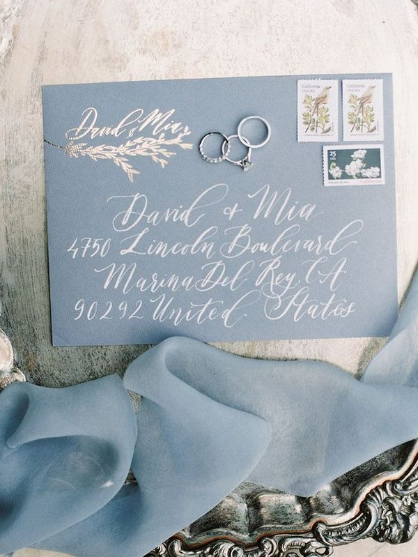 dusty blue wedding invitations
