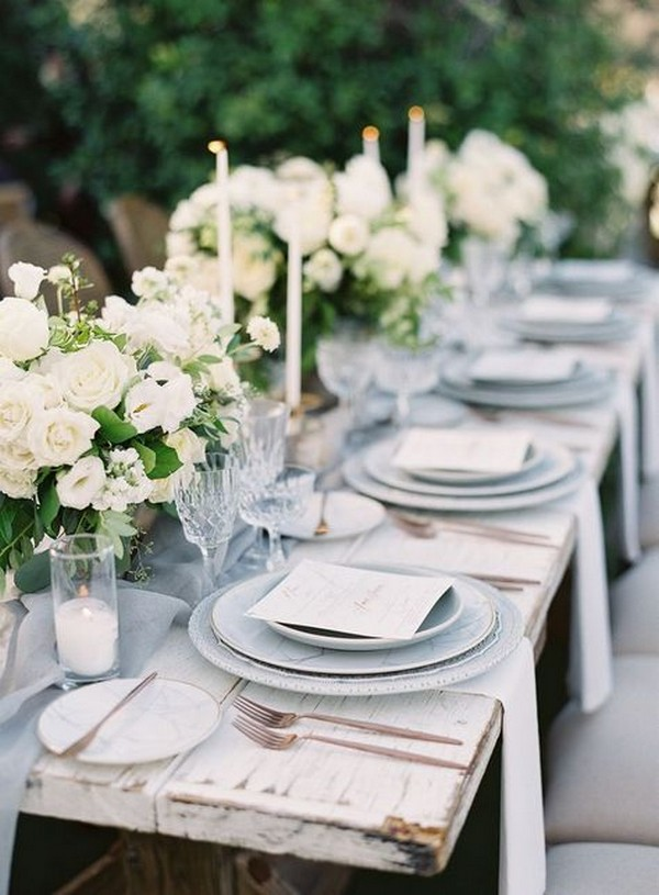 dusty blue wedding table setting ideas