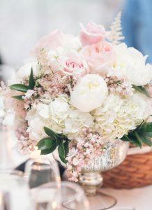 elegant pink and white wedding centerpiece