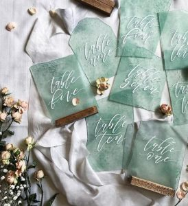 faux sea glass wedding table number ideas