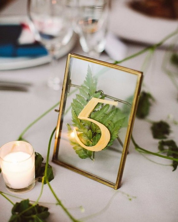 gold frame wedding table number with pressed flowers
