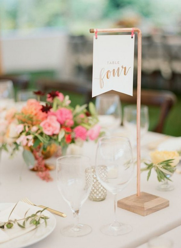 hanging wedding table number ideas