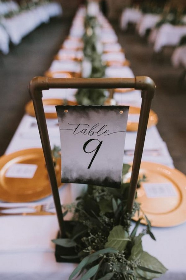 industrial hanging wedding table number ideas