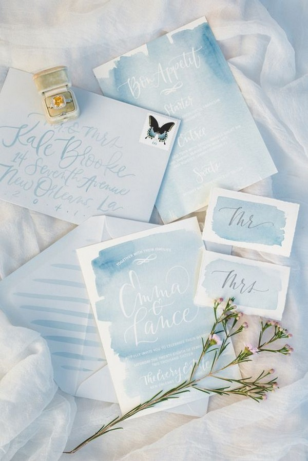 light blue watercolor wedding invitations