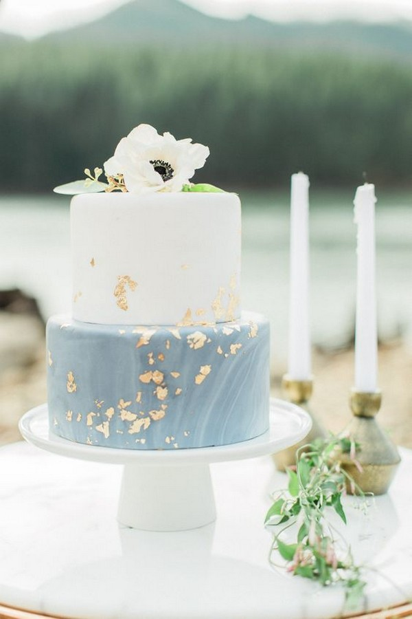 light dusty blue and gold wedding cake