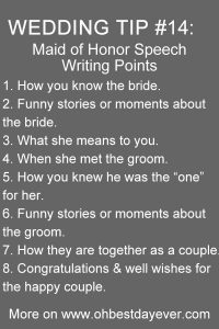 maid of honor speech writing points wedding tips