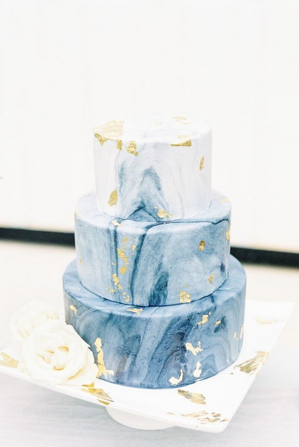 marble blue and gold foil wedding cake