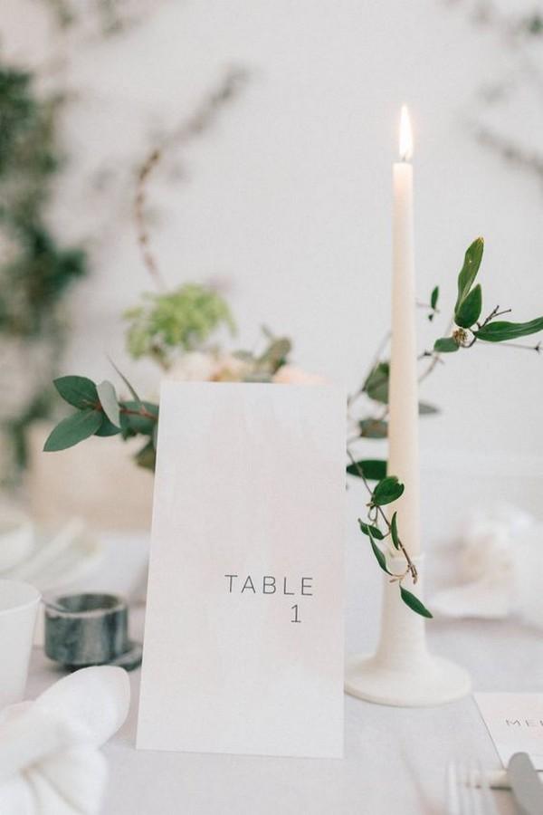 minimalist printable wedding table number ideas