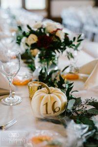 painted pumpkin wedding table numbers for fall weddings