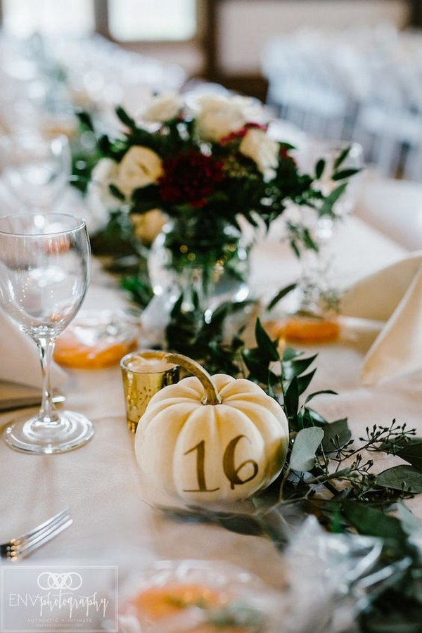 painted pumpkin wedding table numbers for fall weddings