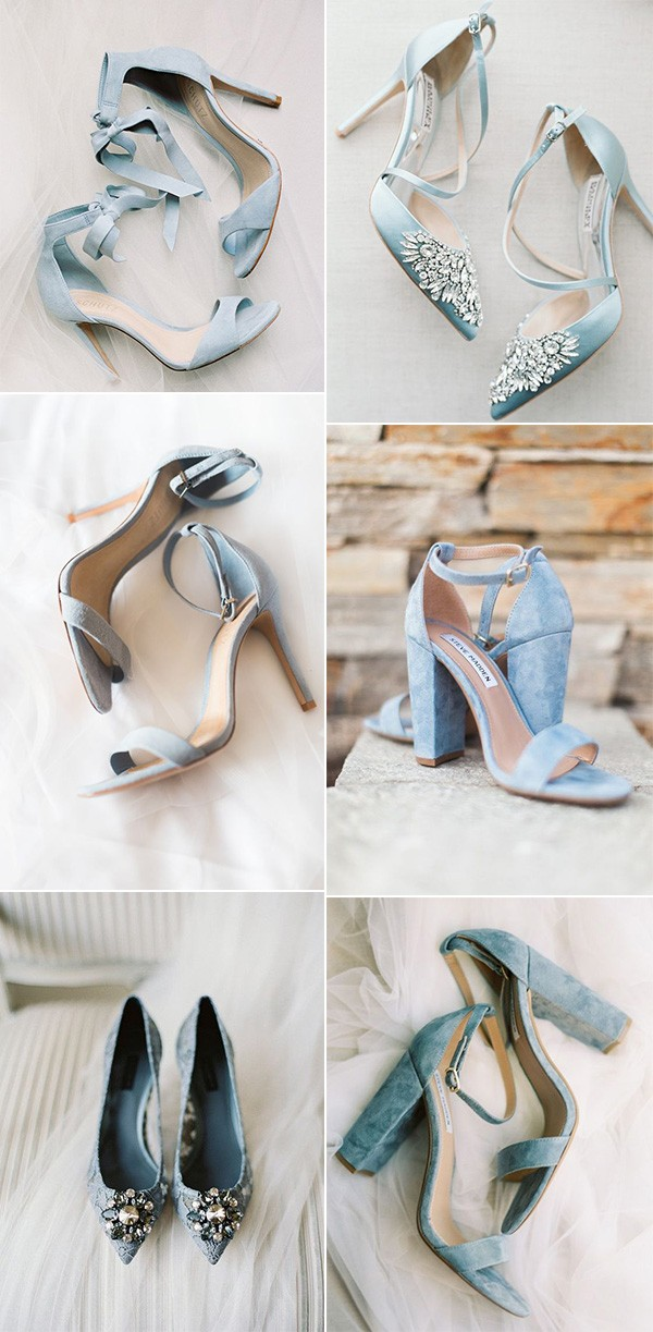 pretty blue wedding shoes for brides