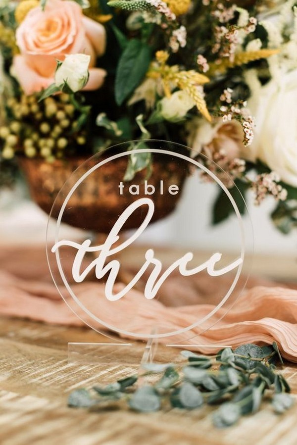 round acrylic wedding table number ideas