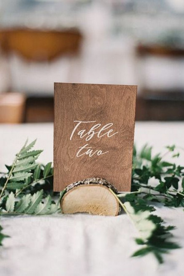 rustic wood wedding table number