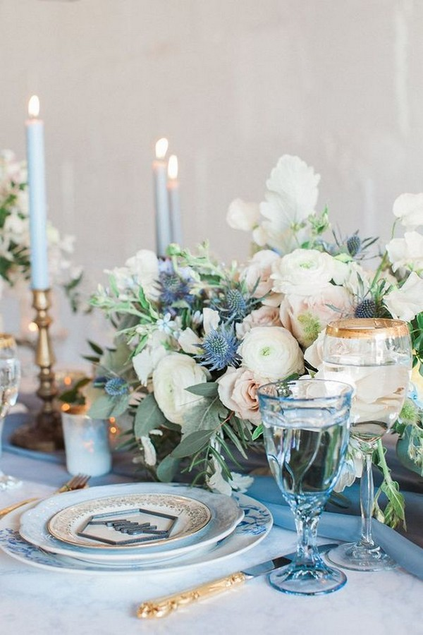 shades of blue and blush wedding centerpiece