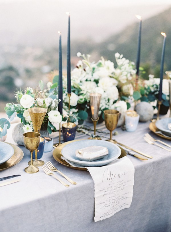 shades of blue and gold vintage wedding table settings