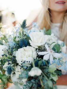 shades of blue and green wedding bouquet