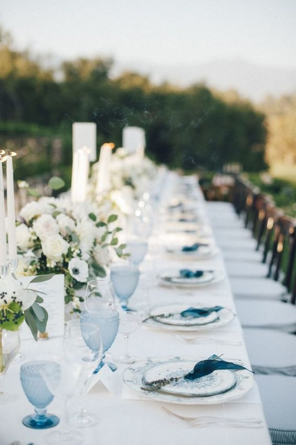 shades of blue outdoor wedding decoration ideas