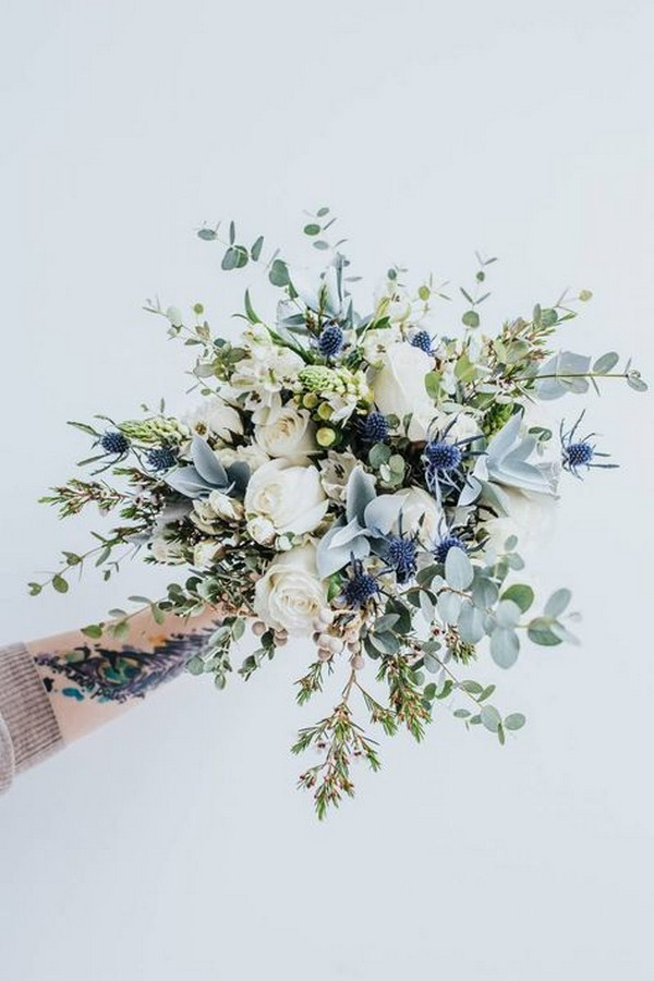 shades of blue wedding bouquet ideas