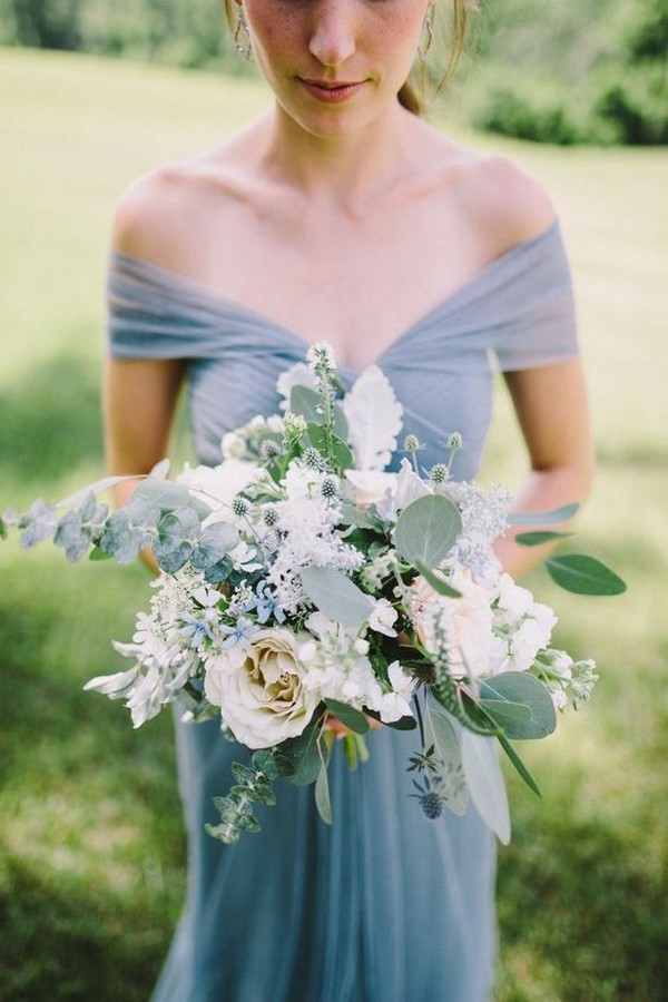 shades of blue wedding bouquet