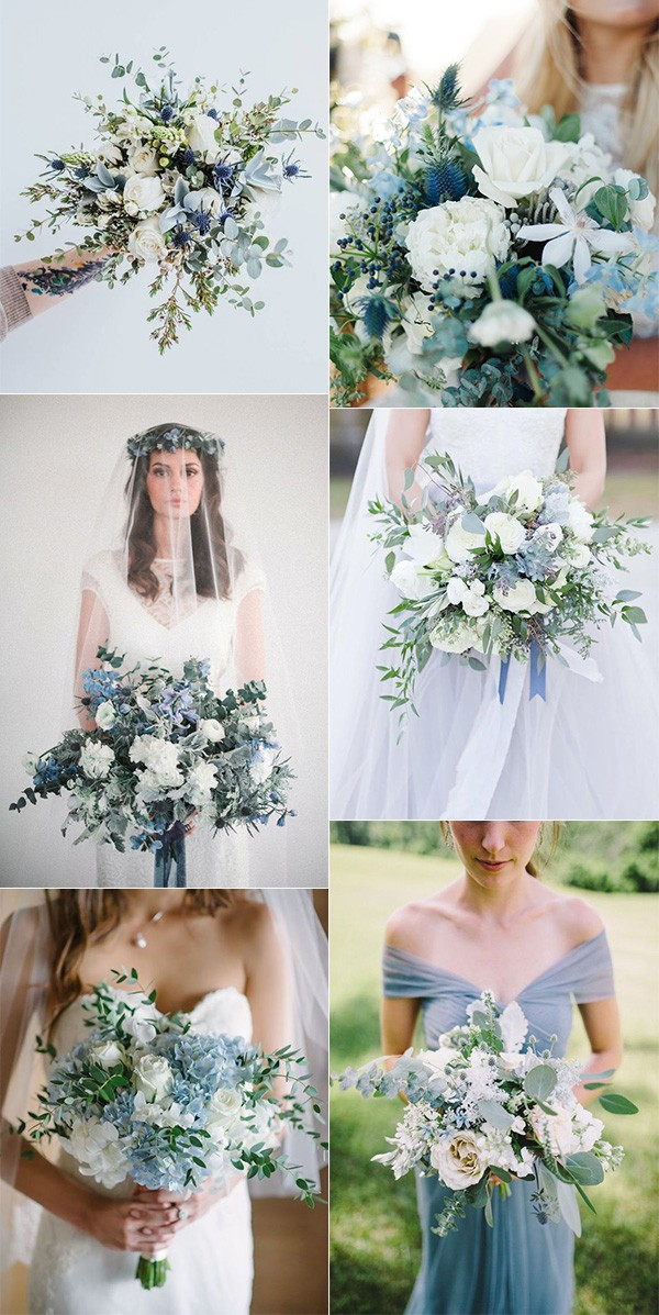 shades of blue wedding bouquets