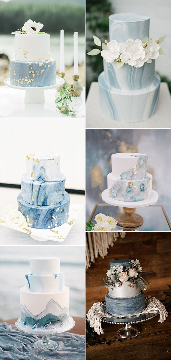 shades of blue wedding cake ideas