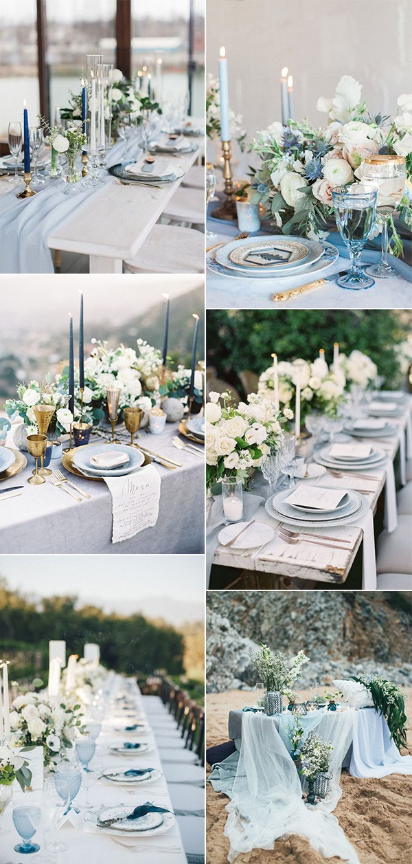 shades of blue wedding centerpiece ideas for reception