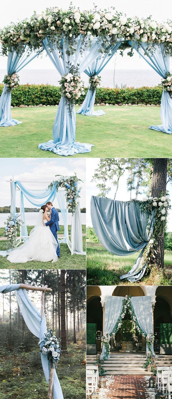 shades of dusty blue wedding arch ideas