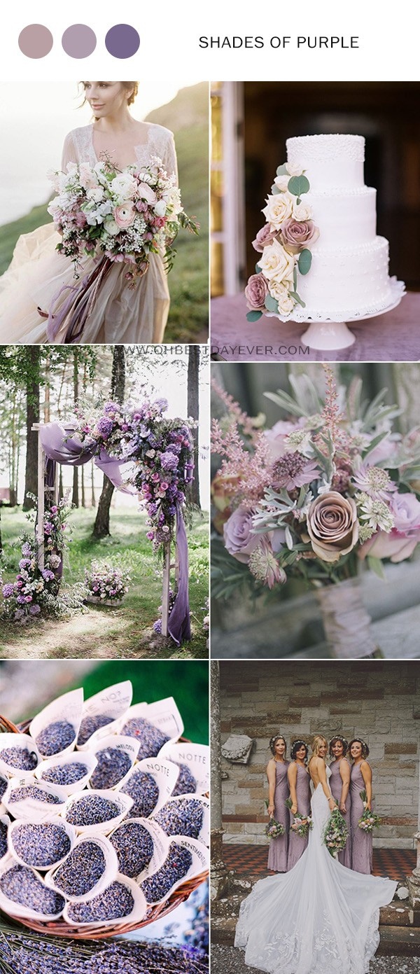 shades of purple wedding color ideas for spring 2019